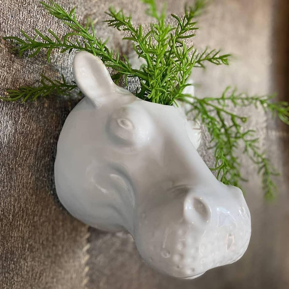 Tête hippopotame blanc céramique