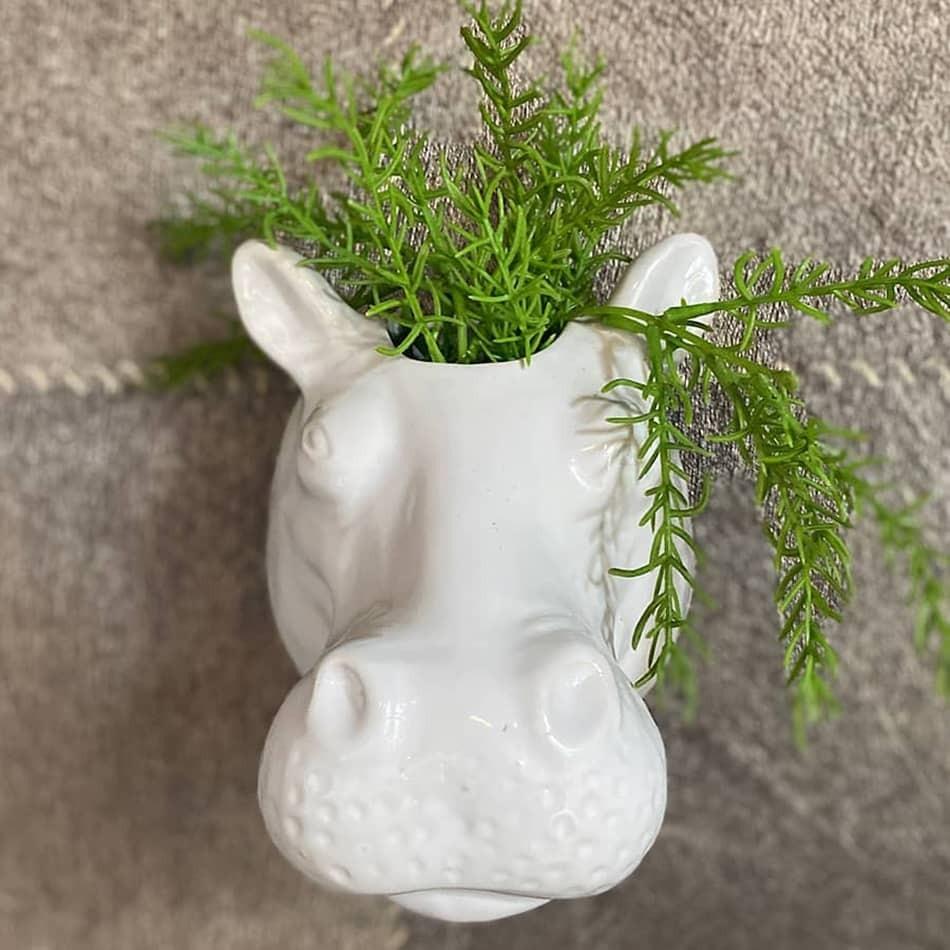 Tête hippopotame blanc céramique de face