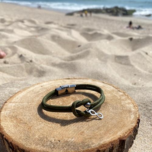 Bracelet liège kaki et acier