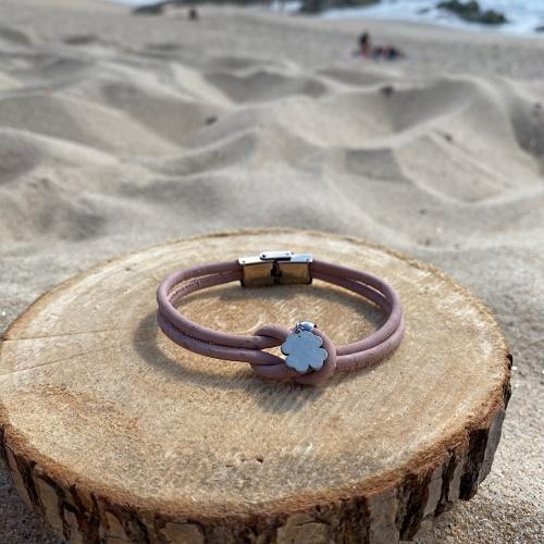 Bracelet liège rose et acier