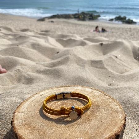 Bracelet liège jaune et acier