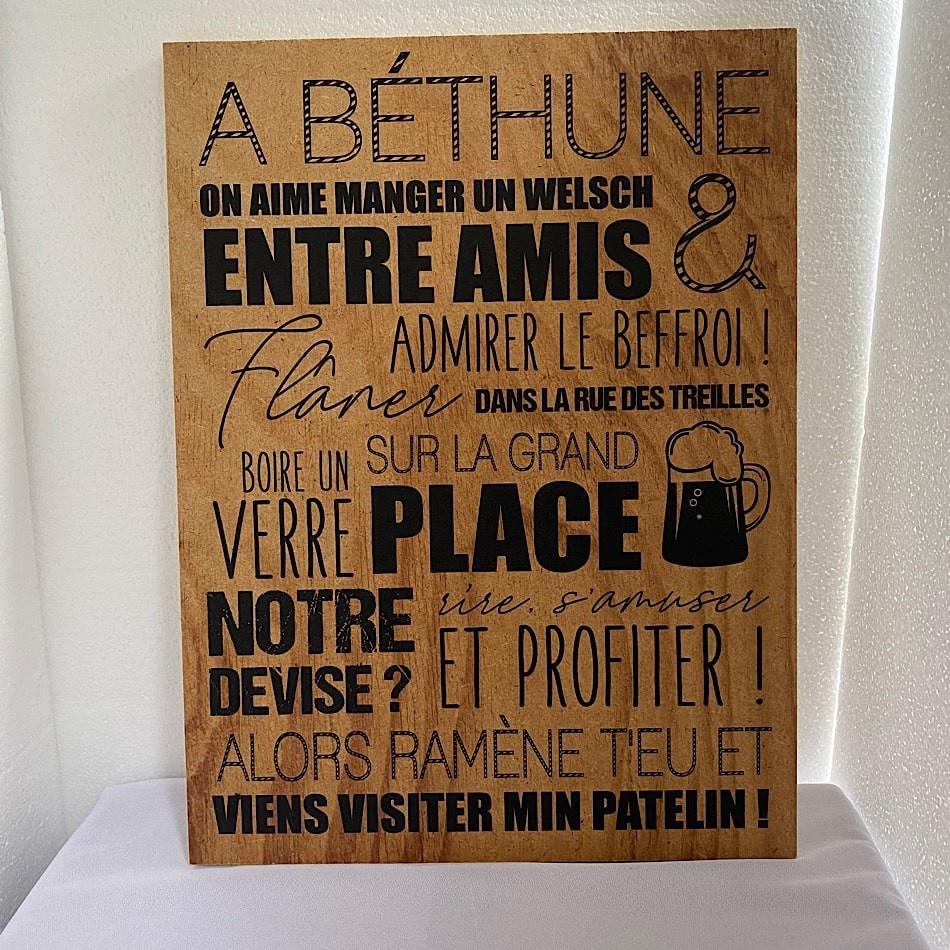 Tableau bois texte Béthune