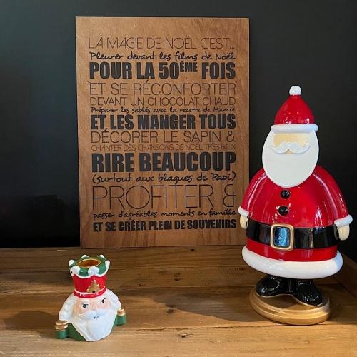 Tableau bois texte Noël magique